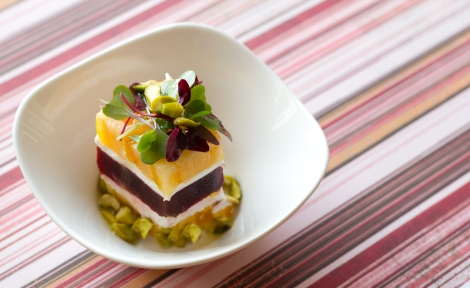A Layered Heirloom Tomato and Beet Stack